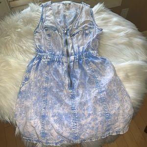 Short faded jean sun dress